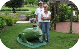 A BIG frog, me and Mom in Canton city park.